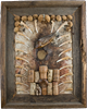 Set Me Free - cork, canvas, wood, mushrooms, crustacean, fish - found object sculpture